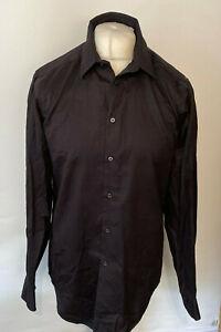 """Calvin Klein Men's Casual Shirt Black Non Iron Slim 15.5"""" 34/35 100% Cotton"""