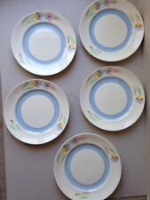 Art Deco 1930s Handpainted Dinner Plates English x 5 Vintage