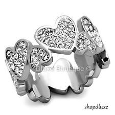 Women's Silver Stainless Steel CZ Eternity Heart Promise Fashion Ring Size 5-10