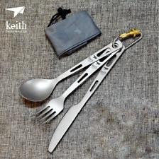 Titanium Camp Picnic 3 Piece Cutlery Set Lightweight Tableware Knife Fork Spoon