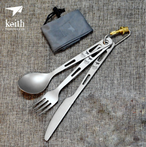 Keith Titanium Camp Picnic Cutlery Lightweight Tableware Knife Fork Spoon Set