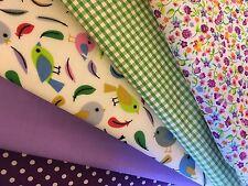 En polycoton fat quarters faisceaux oiseaux violet taches vichy fleurs craft sewing