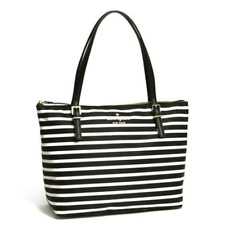 Kate Spade Women's Small Maya Signature Black White Stripe Nylon Tote Bag