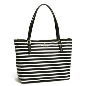 Kate Spade Women's Small Maya Signature Black White Stripe Nylon Tote Bag