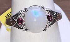 Rainbow Moonstone Ring with Rhodolite Garnet Accents
