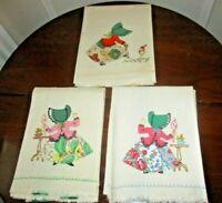 """Set of 3 vintage linen sunbonnet girl appliqued/embroidered towels 35"""" x 19"""" ea."""