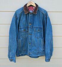 Vintage Marlboro Denim Jean Jacket Leather Collar Adult Size XL