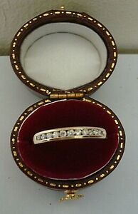 VINTAGE GOOD  1990'S 18 CT GOLD 0.25 PTS DIAMOND 11 STONE ETERNITY RING SIZE N