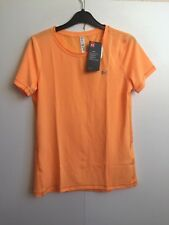 Under Armour Women's UA Fitted HeatGear Mesh Short Sleeve T-Shirt - S - Orange