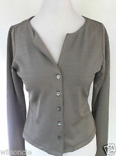$345 Isabelle Elie Atelier Boutique V-Neck Shiny Gray Cardigan Sweater Vest M