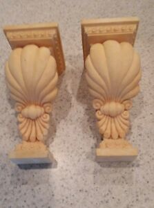 1 Pair Vintage Curtain Rod Holders / Sconces Peachy Beige