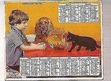 ALMANACH.CALENDRIER DES PTT.1977 / IDEE CADEAU ANNIVERSAIRE/ CHIEN.CHAT.POISSON.