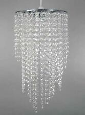 Chrome Chandelier Pendant Shade With Stunning Clear Acrylic Jewel Droplets