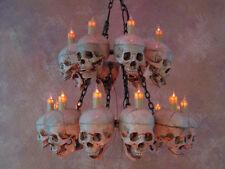 Two Tiered Skull Chandelier w/ 20 life-size Skulls, Halloween Prop,NEW