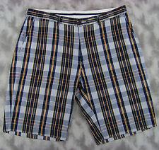 Polo Ralph Lauren Mens Casual Shorts Sz 38 (38x11.5) Lt Blue Navy Plaid Cotton