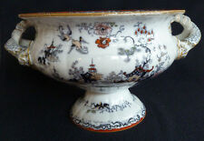 Large Victorian Antique Footed Bowl / Comport Ironstone Oriental Chinoserie