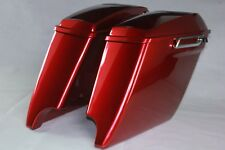 """Ember red sunglo 4.5"""" extend 6*9 speaker lid saddlebags fit Harley touring 93-13"""