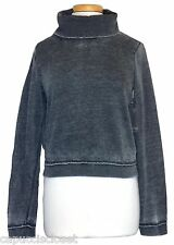 Guess Womens Shirt Sweatshirt Cowl Neck Fleece Knit Crop Top Black Fade XS NEW