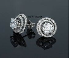 2.0CT Off White Real Moissanite Pair 925 Sterling Silver Solitaire Stud Earrings