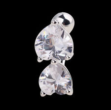Reverse Crystal Bar Belly Ring Gold Body Piercing Button Navel Two Heart Fashion