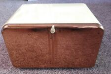 Vintage Beauty Box Yellow and Copper Bread Box With Shelf Cutting Board