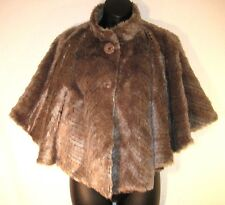 SISTERS OUTERWEAR Faux Fur Beige CAPE PONCHO COAT Medium