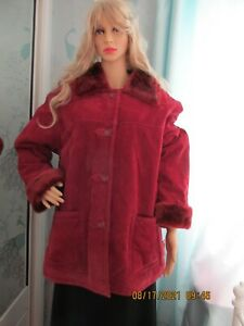 WOMEN DENNIS BASSO REAL SUED 3/4 JACKET BURGUNDY SIZE LARGE 46 INS BUST NEW