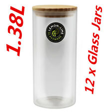 12 X Round Glass Jars BULK 1400ml Food Storage Jar Canister Container Wooden Lid