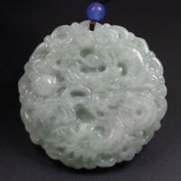 Certified 100% Natural Grade A Green Jade Jadeite Pendant Carved Dragon 龙 X9078