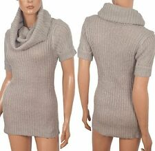 LADIES GREY KNIT COWL NECK SHORT SLEEVED JUMPER SIZE L TO FIT UK 12-14