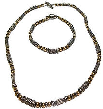 UNIQUE STERLING SILVER & 14K GOLD BEAD BEADED NECKLACE BRACELET SET LOT