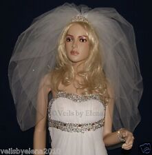 """Bridal Veil Bubble Puffy Bouffant 108"""" Width 2 Tiers 27"""" 30"""" Length Crystals"""