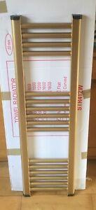 Gold 300mm x 1000mm Bathroom Designer Towel Radiator & Valves