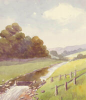 Set of Three Mid 20th Century Watercolours - Landscape with Trees and Mountains