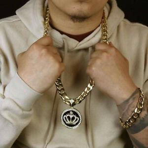 "Mens 14k Gold Plated  XL Black  CROWN Pendant  30"" Cuban Chain and Bracelet"