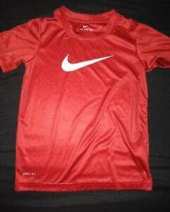 boys nike drifit tee size 6 euc only worn 1x heathered red logo