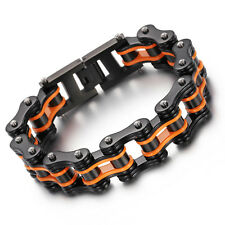 Stainless Steel Women Men's Bracelet 8.66'' 16mm Black orange Motorcycle Chain