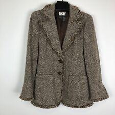 dkny donna karan ny 8 Women Vintage Tweed Jacket Coat Winter Brown Ivory Winter