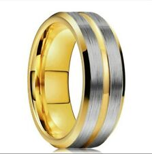 Party Jewelry Gift For Men 7 Men's Fashion Ring Gold Stainless Steel Wedding