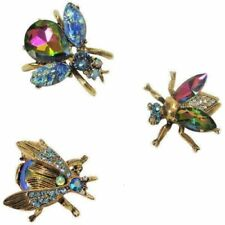 NEW SWEET ROMANCE SET OF 3 EXOTIC BEES SCATTER PINS  BLUE/VIOLET