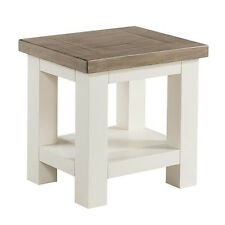 St Ives Painted Lamp Table / Solid Wood White Small Side Table / Solid Ash Top