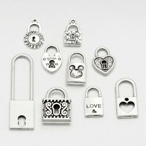 10 Metal Alloy Steampunk Lock Charms Mixed Pendants (G11)