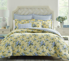 Laura Ashley Cassidy 7 Pc Comforter Set Yellow Floral Cotton King Ships Today