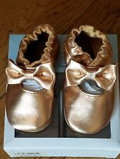 New Spring 2018  Robeez rose gold soft sole leather shoes, 6-12 mo,NIB