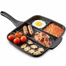 VonShef All in One Frying Pan - 4 in 1 Breakfast Multi Section Grill 33cm
