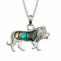 "Lion Necklace Paua Abalone Shell Leo Pendant Silver Fashion Jewellery 18"" 45cm"