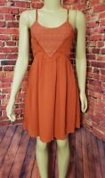 Lulu's Size Small S Orange Boho Summer Dress Spaghetti Strap Sleeveless