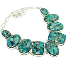 """Copper Turquoise Gemstone Handmade 925 Sterling Silver Necklace 18"""""""
