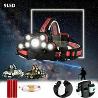 120000LM 9xT6 LED Lampe Frontale Phare Headlight Torche USB Rechargeable 18650