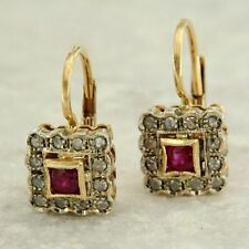 Yellow Gold Earrings 14 Carats with Ruby and Diamonds to Hook Style Antique
